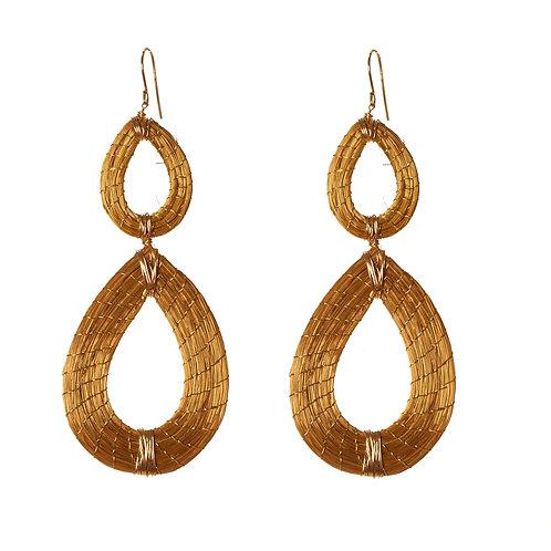 Double drop golden grass earrings