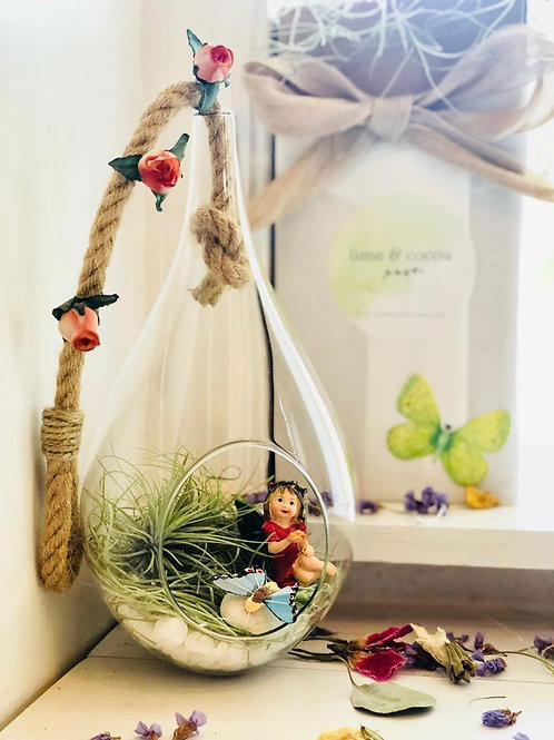 Raindrop terrarium with fairy, air plants, moss and rocks with decorative box by window.