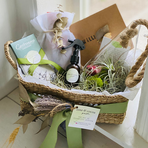Image of chocolate, terrarium and wrappings in a basket by a window