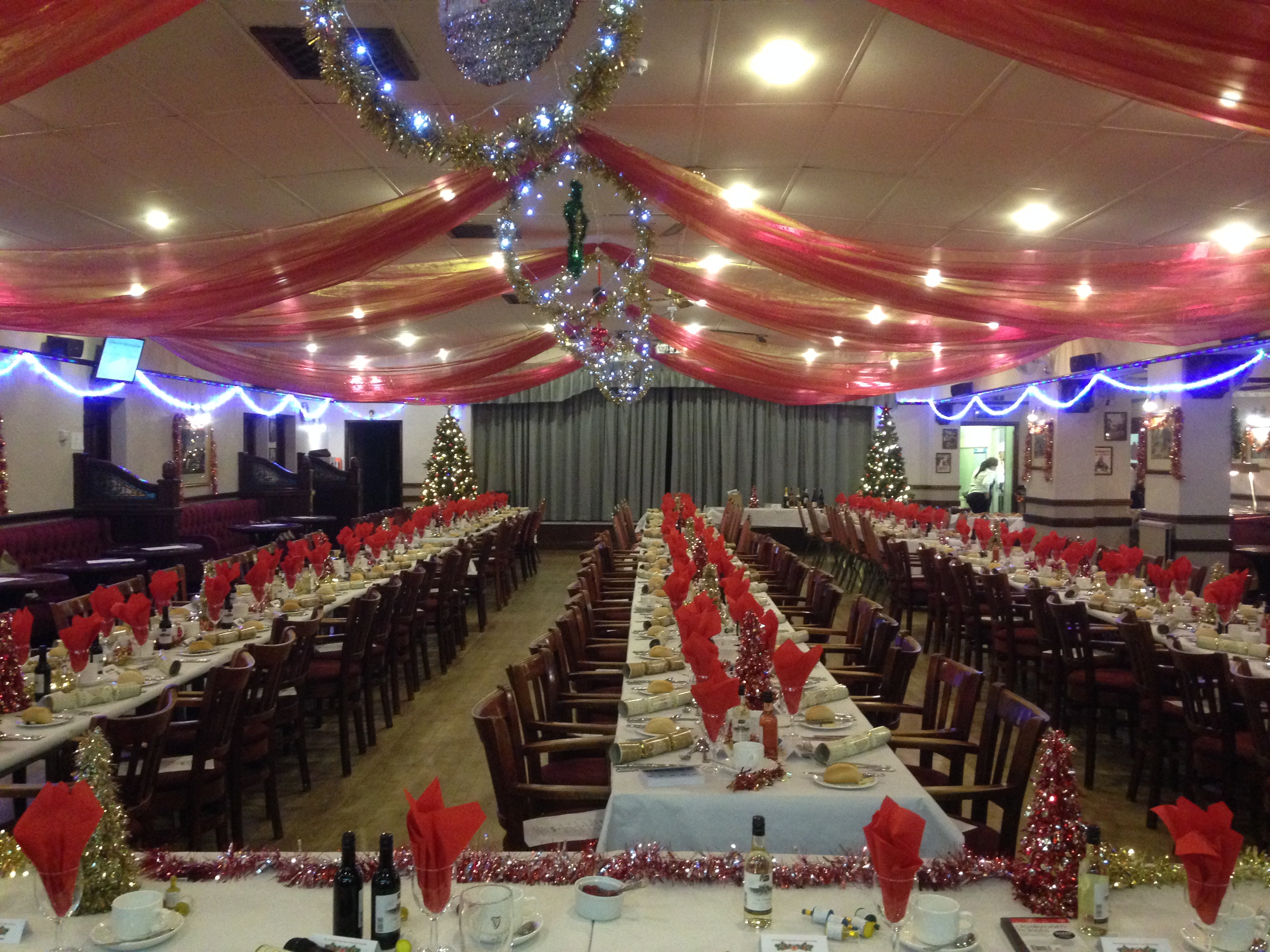 Main Hall Decorated for Christmas & the Golf Dinner