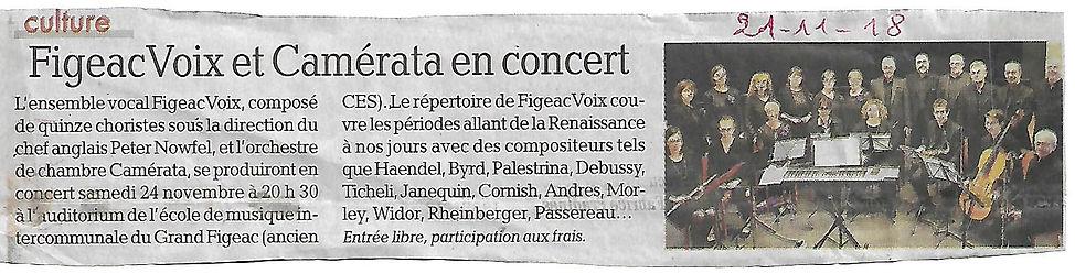 FigeacVoix et Camérata en concert novembre 2018