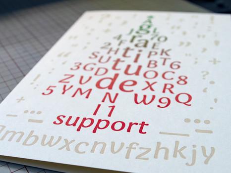 "Postcard ""Gratitude"" featuring Vine typeface"