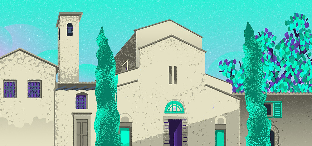 Church florence italy historic architectural illustration