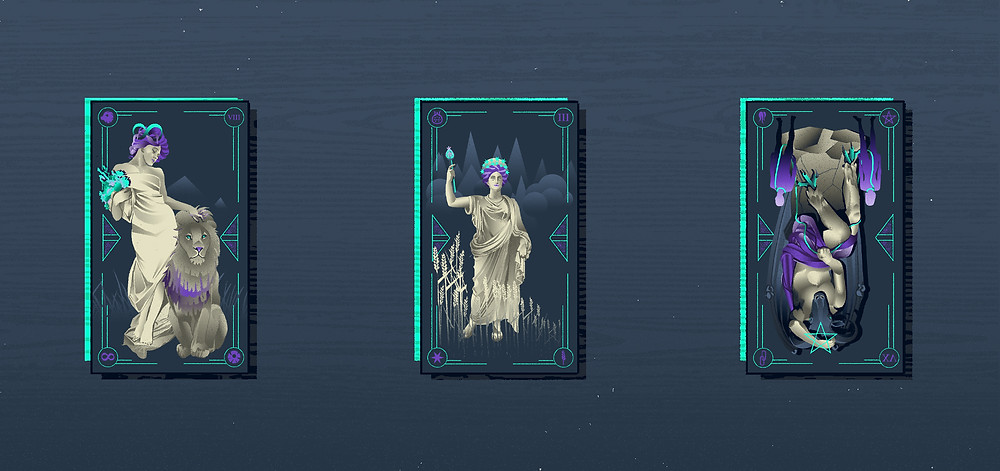 strength tarot card the empress tarot card the devil card illustrated tarot italian tarot illustrated major arcana alexandra wong illustration