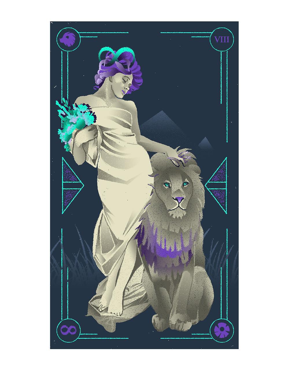 Strength tarot card illustrated tarot italian tarot illustrated major arcana alexandra wong illustration