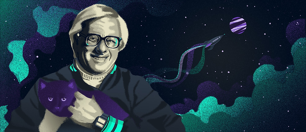 ray bradbury illustrated portrait space stars illustration fantasy