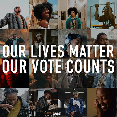 Photo collage with text overlaid reading our lives matter our votes count