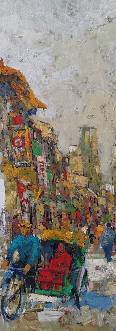 Tong Chin Sye Little India, 2018, 75 x 110 cm, oil on canvas
