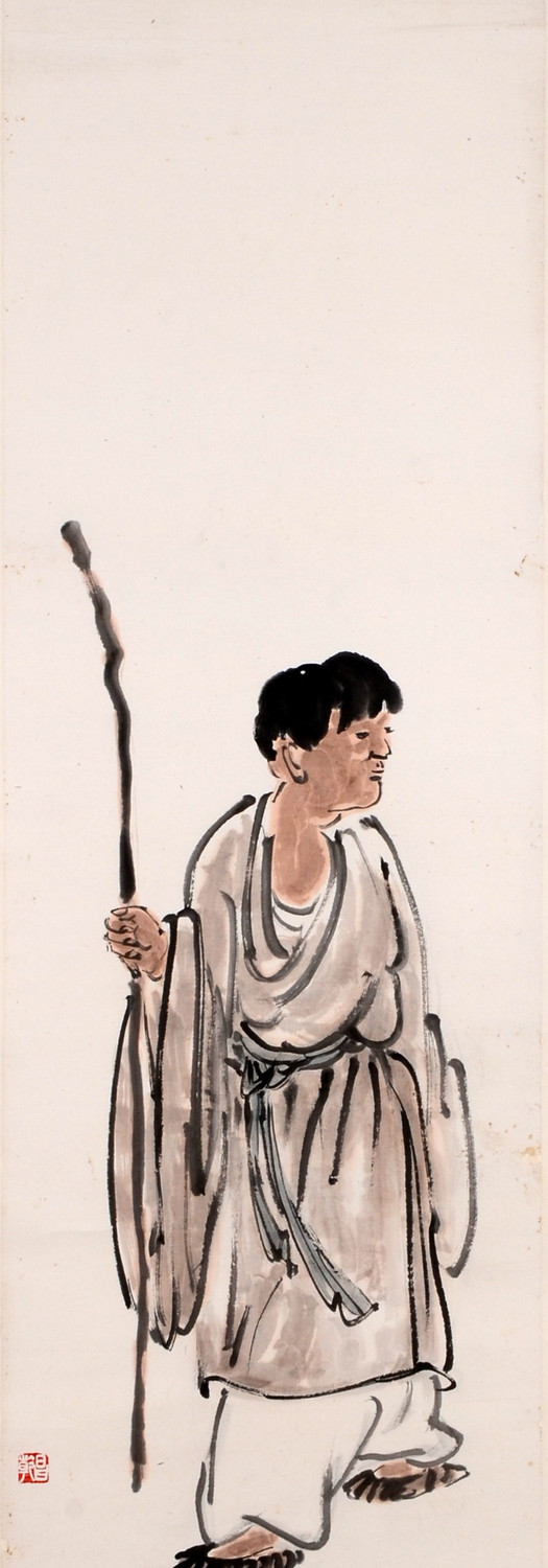 Young Mendicant Monk 年轻头陀, undated (1950s), Chinese ink and colour on paper, 139 x 35 cm