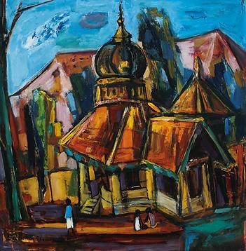 CSP 507 56 Village Scene 52 x 52 cm Oil