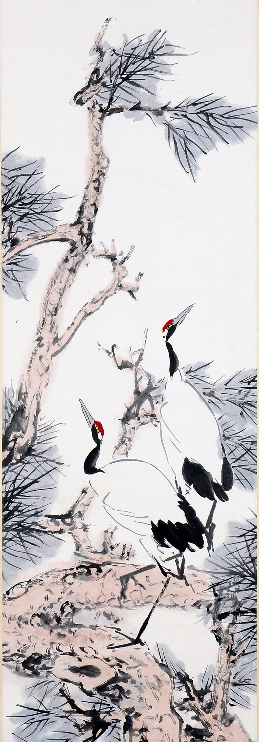 Twin Cranes on Pine Tree 松鹤, 1982, Chinese ink and colour on paper, 176 x 47 cm