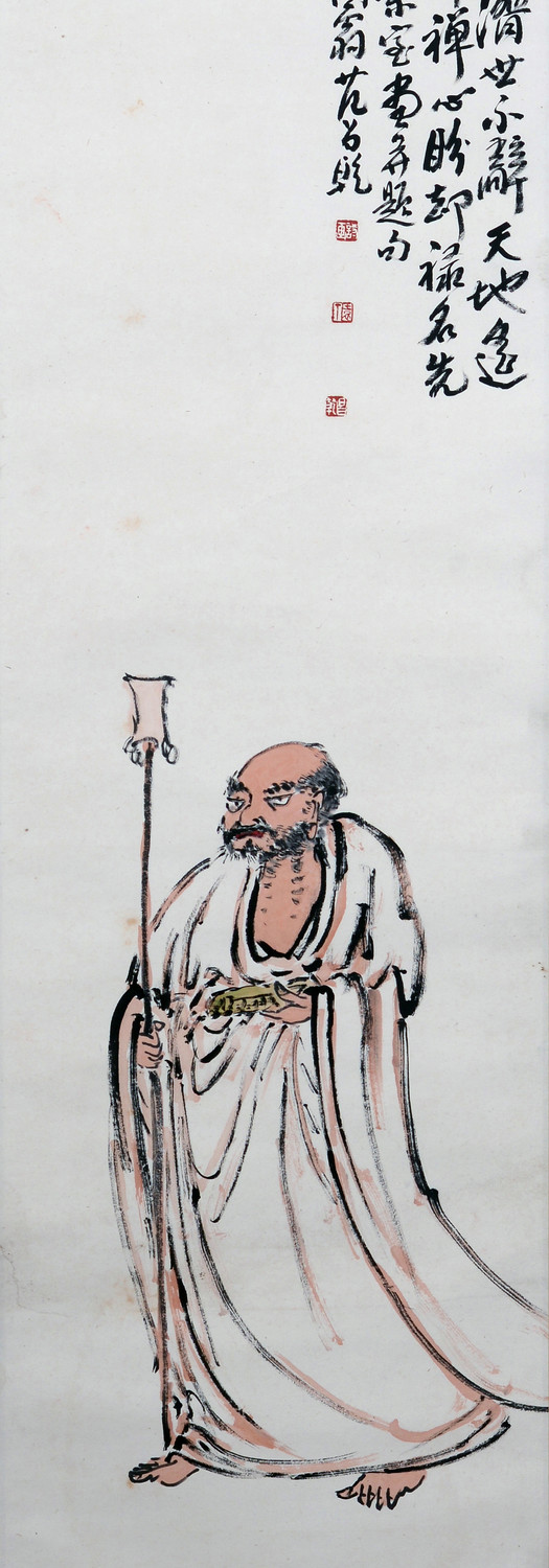 Bodhidharma 达摩, 1979, Chinese ink and colour on paper, 137 x 33 cm