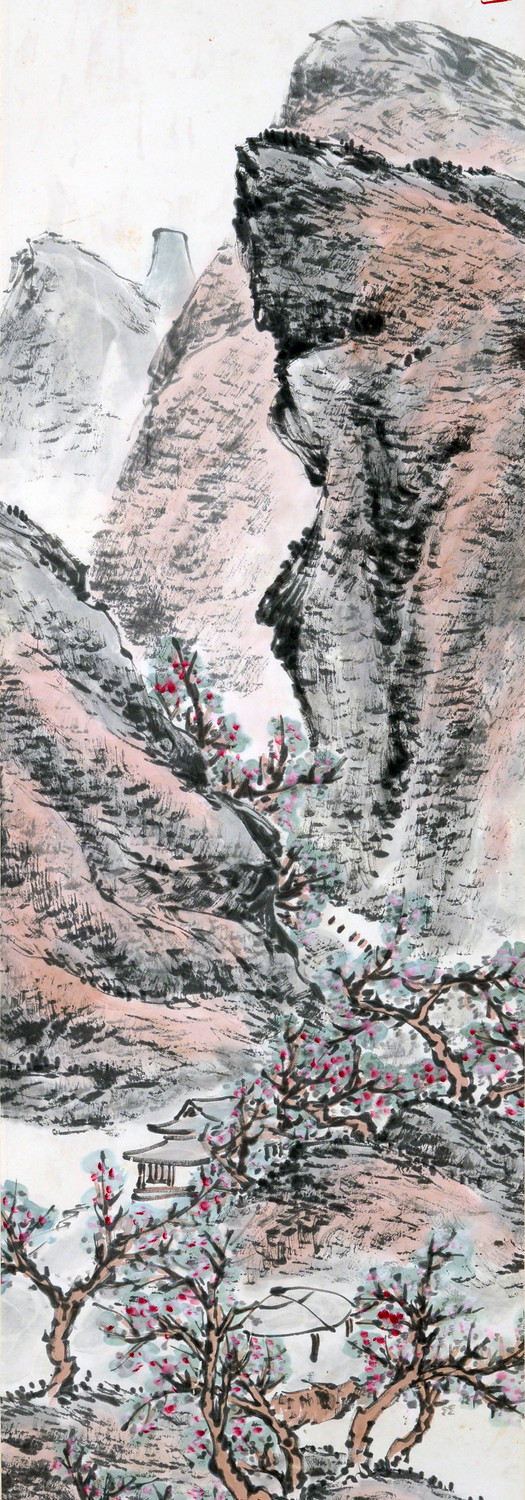Valley Amidst Tall Mountains 高山峡谷, undated (1950s), Chinese ink and colour on paper, 137 x 33.5 cm