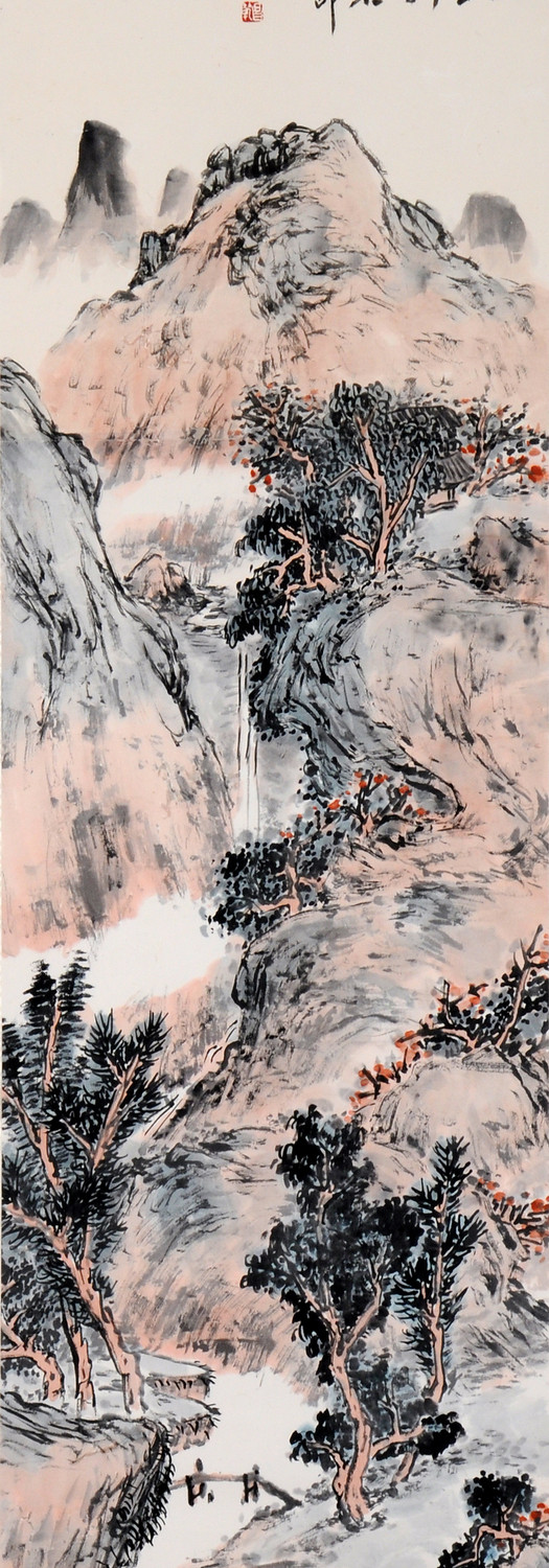 A Mountain Escape 隐居佳境, 1980, Chinese ink and colour on paper, 140 x 34.5cm