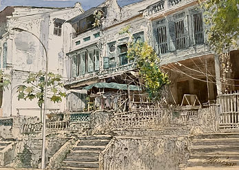 Ong Kim Seng, Mohammed Sultan Road Abode, 2021, Watercolour on paper, 53.5x73.5cm