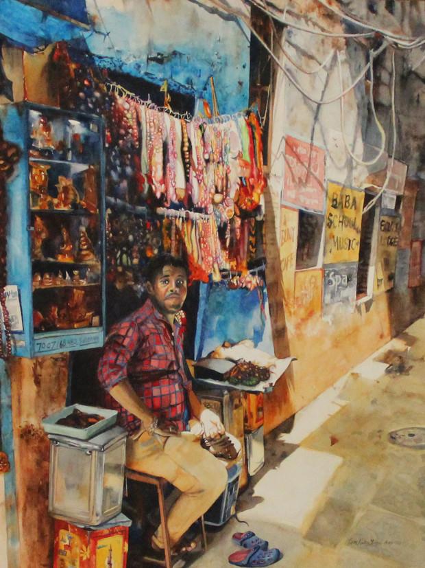 Seller in Varanasi Alley
