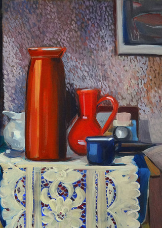 June still life with vases and lace