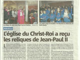 18/12/2014 Corse Matin : relique de Saint Jean-Paul II
