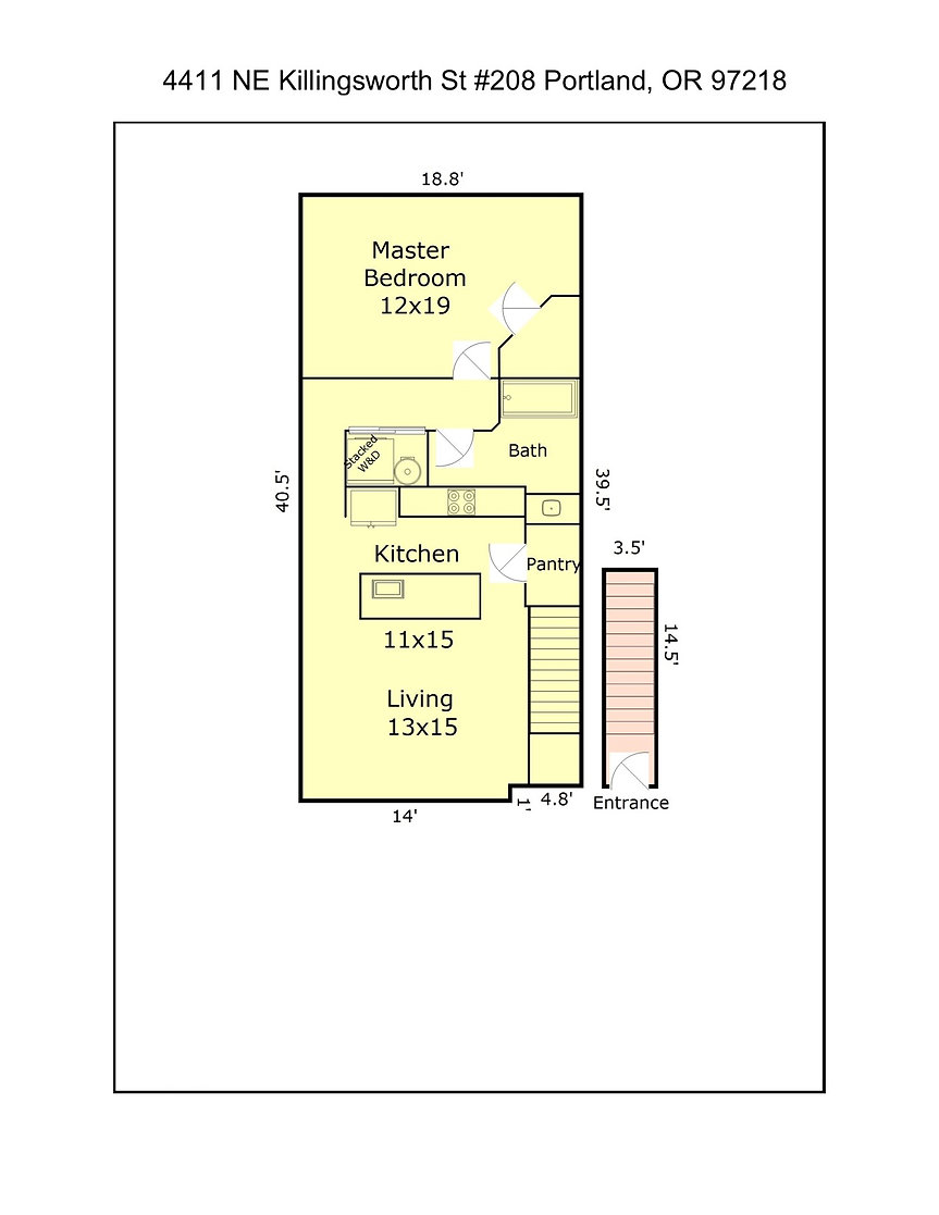 4411 NE Killingsworth St #208 Floor Plan