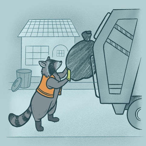 Animal Professions: Waste Manager Raccoon