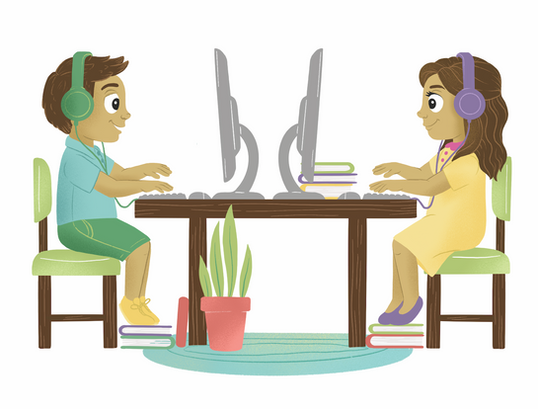 Step Up Learning Spot Illustration: Studying