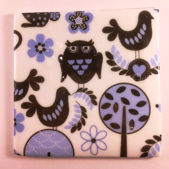 Blue Folk Art Animal Coaster