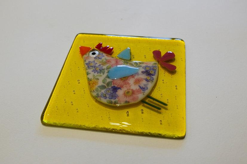 Flower-Power Hen Coaster