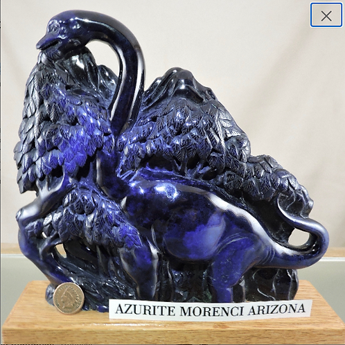 Azurite Dinosaur Carving