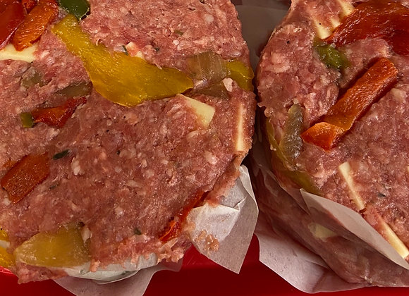 Two 8 oz Philly Cheesesteak Burgers