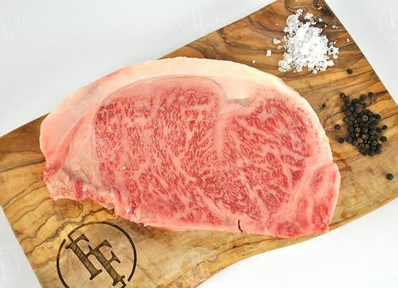 Japanese A5 Wagyu Kobe Strip Steak.