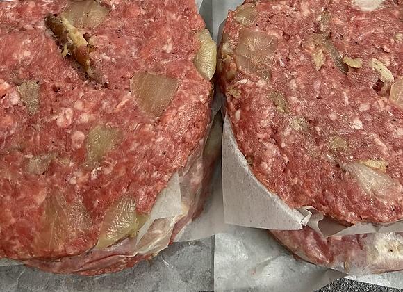 Two 8oz Caramelized Onion & Bacon Burgers