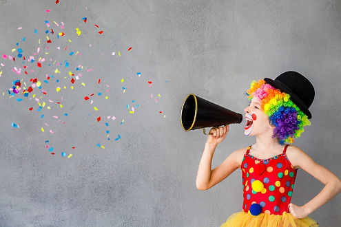Let's party! Funny kid clown. Child spea