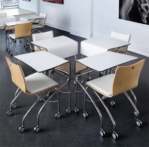 Rulo tables and chairs from Versteel