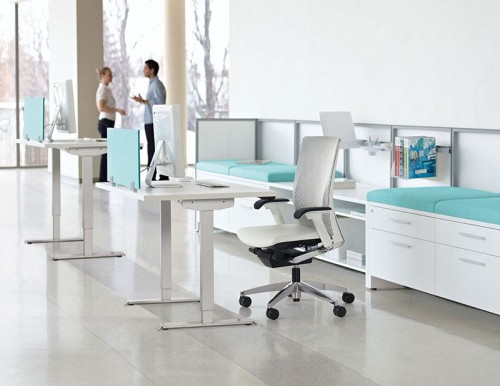 Sit. Stand. Move. Foli Adjustable Height Tables from Global