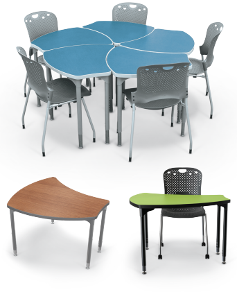 Shapes Desks Come In Two Sizes And Have A Variety Of Standard Hpl Laminate Colors Or Customize Table Tops With Your Choice Hundreds