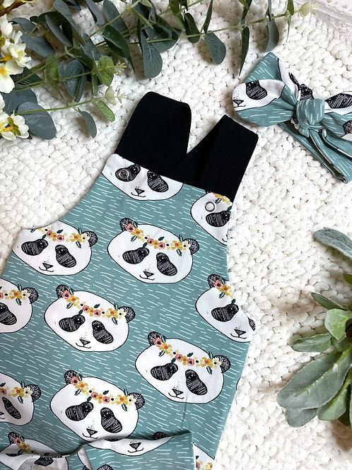 Full Leg Dungarees - Organic Panda Heads