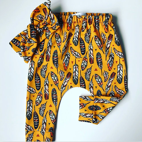 Harems/Leggings - Mustard Feathers