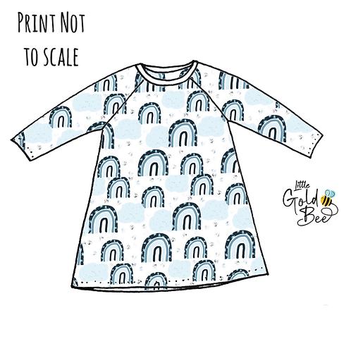 T-Shirt Dress - Ice Blue Leopard Rainbows