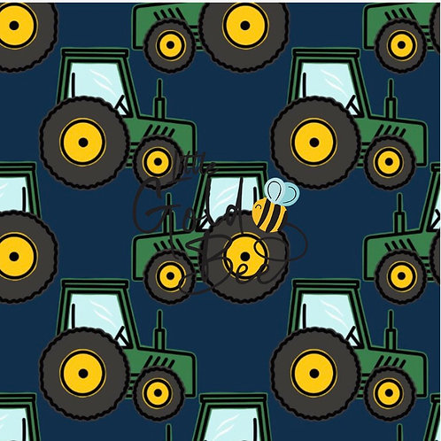 Pinafore Dress - Tractor Team (On Navy & Green)