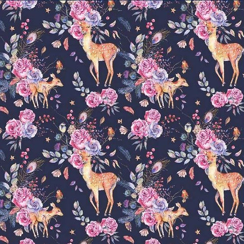 Pinafore Dress - Floral Deer