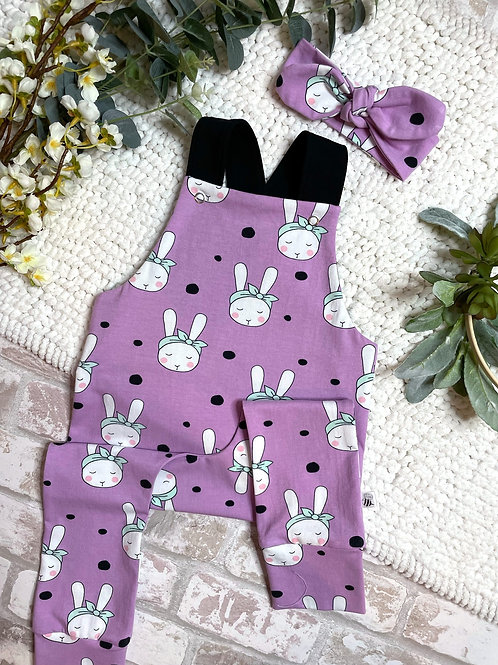 Full Leg Dungarees - Bunnies with Bows