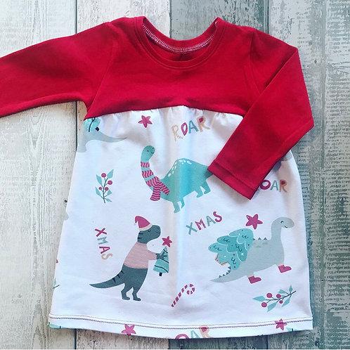 Christmas Dinosaur Dress