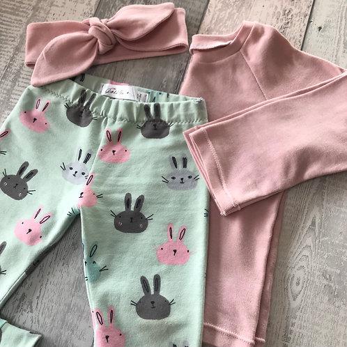 Leggings Set - Mint Bunnies