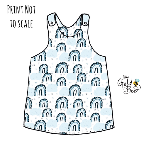 Pinafore Dress - Ice Blue Leopard Rainbows