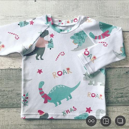 Long Sleeve Top - Christmas Dinosaurs