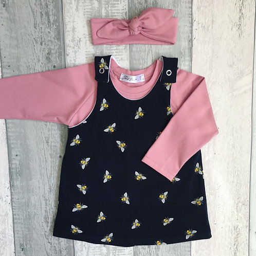 Pinafore Set - Navy Bees