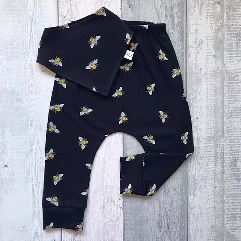 Harem Pants Set - Navy Bees