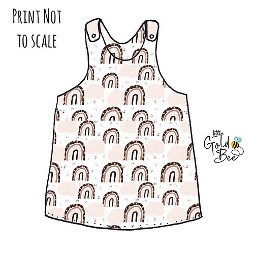 Pinafore Dress - Neutral Leopard Rainbows
