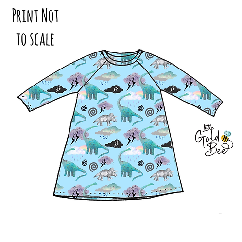 T-Shirt Dress - Dino Storm