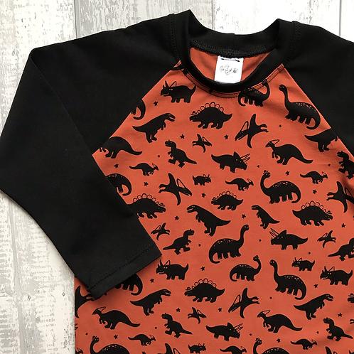 Long & Short Sleeve Tops - Rust Dinos